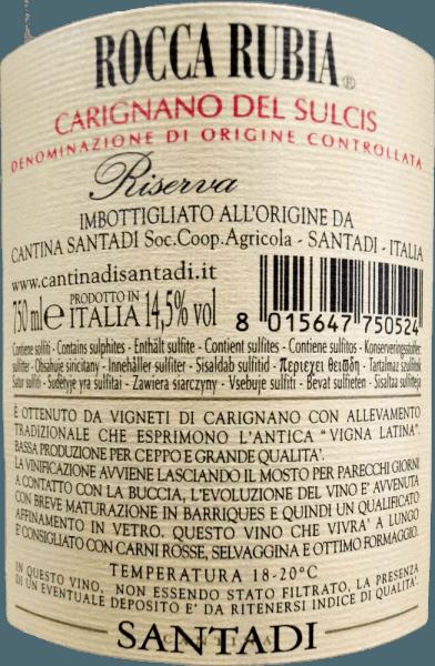 Der Rocca Rubia von Santadi ist ein sardischer Spitzenwein, der im Glas durch seine intensiv, fast undurchsichtige rubinrote Farbe besticht. In der Nase entfaltet der Rocca Rubia intensive Duftnoten der heimischen Myrte, untermalt von jeder Menge Heidelbeeren, Brombeeren, weichem Leder, Vanille und mildem Lakritz. Der körperreiche Rocca Rubia von Santadi zeigt sich am Gaumen samtig und füllig mit langanhaltenden Aromenund einer großartigen Struktur. Vinifikation desRocca Rubia vonCantina di Santadi Die Trauben für den kraftvollenRocca Rubia Riserva Carignano del Sulcis DOC von Cantina di Santadistammen von den Weinbergen in der Nähe der Mittelmeerküste der Sulcis-Region im Südwesten Sardiniens. Der Wein wird aus 100% Carignano gekeltert, die in der Region Sulcis im Südwesten Sardiniens als Bäumchen nach alter Manier der Lateinischen Rebe erzogen. Auf den sandig-lehmigen und kargen Böden gedeihen die Trauben für diesen kraftvollen, an Tanninen reichen Wein bestens. Nach der Lese und der Trennung von den Stielen, gären die Trauben bei kontrollierter Temperatur etwa 14 Tage in Stahltanks. Währenddessen wird die Maische immer wieder untergehoben, damit die Tanninen, die im sardischen Carignano besonders reichhaltig sind, in die Maische übergehen. Nach der Gärung wird der Rocca Rubia in neue und zweijährige französische Barriquefässer umgefüllt, in denen er 10 bis 12 Monate ausgebaut wird. Einige Monate auf der Flasche unterstützen den Wein, sein reichhaltiges Bouquet zu entwickeln. Speiseempfehlung zum Rocca Rubia von Santadi Servieren Sie diesen genialen Rotwein aus Sardinien zu rotem Fleisch, Wildschwein, Spanferkel und gut gereiftem sardischen Schafskäse. Prämierungen für den Rocca Rubia Riserva James Suckling: 93 Punkte für 2015 I Vini di Veronelli: 92 Punkte für 2015 Gambero Rosso: 2 Gläser für 2013