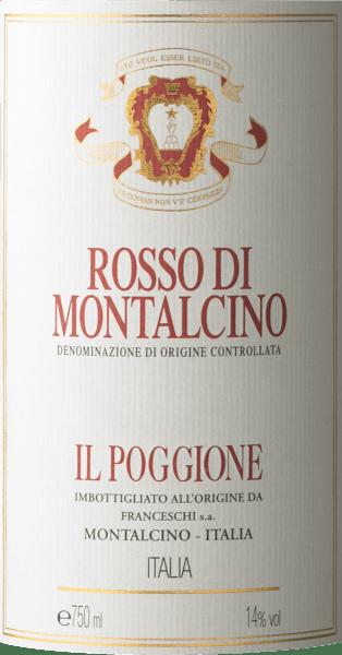 """Der Rosso di Montalcino DOC von Tenuta Il Poggione ist der jüngere Bruder des großen Brunello di Montalcino, leichter zugänglich, aber auch schon mit bemerkenswerte Struktur und Persönlichkeit. Er erscheint in einem tiefen Rot im Glas, an der Nase präsentiert er Duftnoten von roten Beerenfrüchten. Am Gaumen zeigt dieser charaktervolle toskanische Rotwein seine hervorragende Stoffigkeit, komplex, weich, anhaltend, mit jungen und doch schon samtigen und schmeichelnden Tanninen. Langer, harmonischer Nachhall. Vinifikation des Rosso di Montalcino von Tenuta il Poggione Dieser Rosso di Montalcino ist für das Weingut ein sehr wichtiger Wein. Auf Tradition und Naturverbundenheit wird hier viel Wert gelegt und fortwährend nach der Optimierung der Weine gestrebt. Die Sangiovese-Trauben für diesen Rotwein stammen von den jüngsten Weinlagen des Gutes, nach der manuellen lese und der ersten und zweiten Gärung in Edelstahltanks, reift dieser Rotwein 12 Monate in großen Holzfässern und in Barriques, gefolgt von einer abschließenden Reifezeit in der Flasche. Der Ausbau im Holz ist nach den Produktionsvorgaben des Rosso di Montalcino nicht zwingend notwendig, doch verleiht er dem Wein seine komplexen Aromen und seine Struktur, die ihn zu einem großen """"jungen Brunello"""" machen, und macht die typischerweise noch jungen Tannine des Sangiovese weicher. Food pairing für den Rosso di Montalcino von Tenuta il Poggione Dieser kraftvolle Rotwein aus Montalcino passt idealerweise zu Pasta und Gerichten mit Fleischsoßen, Braten und gegrilltes und geschmortes Fleisch, sowie mittelreife Käse. Auszeichnungen The Wine Advocat Robert Parker - 91 Punkte für 2013"""