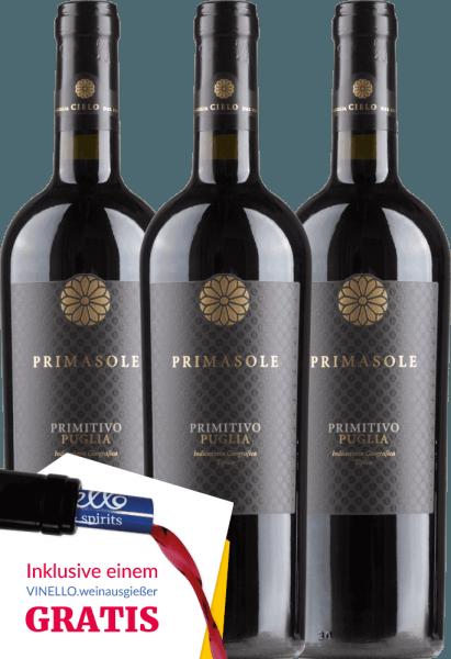 3er Vorteils-Weinpaket - Primasole Primitivo 2018 - Cielo e Terra von Cielo e Terra
