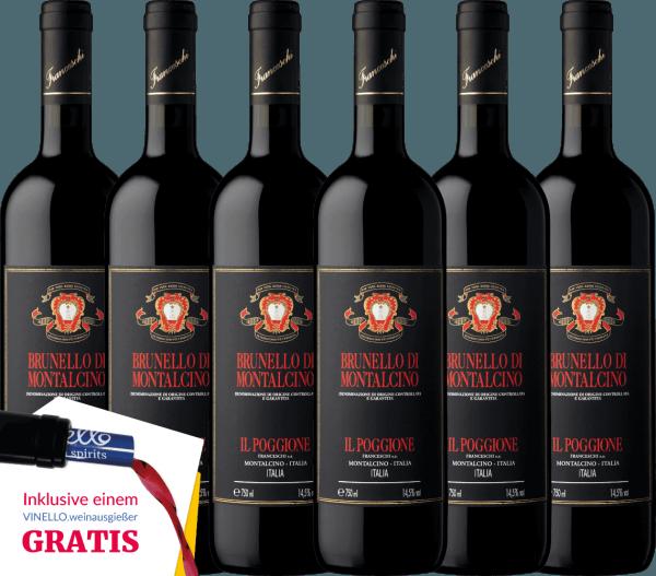 Der Brunello di Montalcino DOCG von Tenuta il Poggione ist ein ausgezeichneter, komplexer und verführerischer toskanischer Rotwein. Die Nase erfreut sich an einem konzentrierten, fruchtig-würzigen Bouquet - der Gaumen an einer samtig-weichen Tanninstruktur mit ausgeglichener Säure und komplexen Körper. Genießen auch Sie jetzt diesen italienischen Rotwein in unserem 6er Vorteilspaket. Mehr über diesen hochprämierten, trockenen Rotwein erfahren Sie in der Expertise desTenuta il PoggioneBrunello di Montalcino.