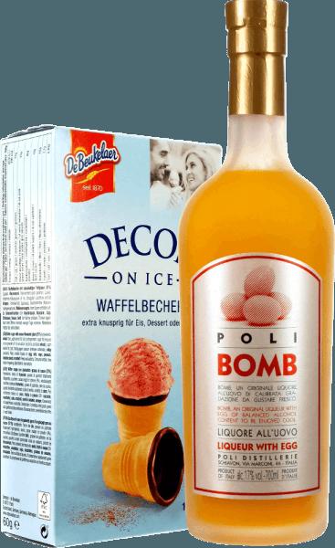 Poli Kreme 17 Bomb Likör mit Ei - Jacopo Poli mit Waffelbecher