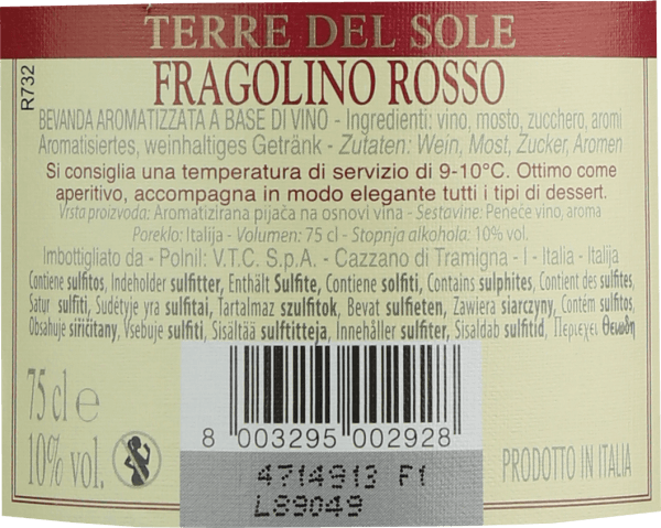The Fragolino Rosso from Terre del Sole is the cult semi-sparkling wine from the Italian wine-growing region Veneto, which convinces with its fresh, uncomplicated and wonderfully fruity personality. In the glass, this Fragolino presents itself in a brilliant violet-red. The nose enjoys fresh fruit notes. Intense aromas of freshly picked strawberries are revealed - finely underscored by hints of gooseberry. On the palate, this Fragolino has a pleasant sweetness, which is perfectly underlined by the fine, sparkling bubbles of carbonic acid. The acidity harmonizes wonderfully with the aroma of wild strawberries and gives the Terre del Sole Fragolino its wonderful freshness. Serving suggestion for the Fragolino Rosso Enjoy this wonderful Fragolino well-chilled at 5 to 6 degrees Celsius as an aperitif or with fruity dessert variations. But a glass of Fragolino is also a must on beautiful summer days.