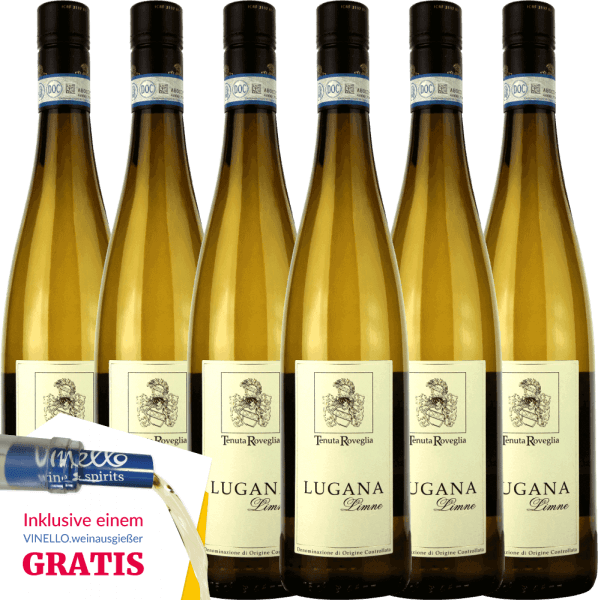 The Limne Lugana DOC from Tenuta Roveglia from the Italian wine region of Veneto is one of the great Lugana classics. Typical varietal aromas pamper the nose and the palate is enchanted by a delicate melting, elegant fruit acidity and beautiful balance. Now you too can enjoy this Italian white wine in our special 6-pack. More about this dry white wine can be found in the expertise of Tenuta Roveglia Limne Lugana.