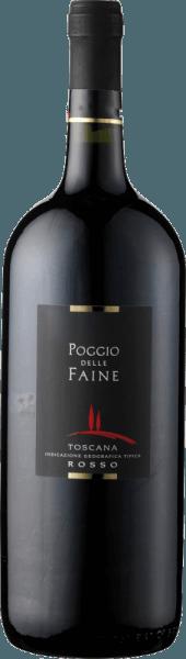 Der Poggio delle Faine Rosso IGT von Poggio delle Faine zeigt sich im Glas in einem tiefen Granatrot und offenbart sein konzentriertes Bouquet. Dieses enthält die Aromen von dunklen Beerenfrüchten und Kirschen, sowie die würzigen Komponenten von vanilligem Holz. Am Gaumen ist diese Cuvée aus Sangiovese und Cabernet Sauvignon mit warmer und schmeichelnder Frucht und feinen Nuancen von Kaffee und Schokolade präsent. Dieser Rotwein aus der Toskana verfügt über einen langen Nachhall, Konzentration und viel Potenzial. Speiseempfehlung für den Poggio delle Faine Rosso IGT von Poggio delle Faine Genießen Sie diesen trockenen Rotwein zu Pasta mit Tomatensaucen, kräftigen Fleischgerichten von Schwein, Rind, Lamm oder Wild oder zu gegrillten Gerichten. Auszeichnungen für den Poggio delle Faine Rosso IGT von Poggio delle Faine Mundus Vini: Gold (Jahrgänge 2011, 2008, 2007) Mundus Vini: Silber (Jahrgang 2009) Berliner Winetrophy: Gold (Jahrgang 2011) Daejeon Wine Trophy: Gold (Jahrgang 2008) Decanter: Silber (Jahrgang 2007)