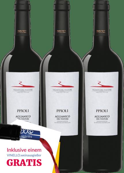 3er Vorteils-Weinpaket - Pipoli Aglianico del Vulture DOC 2018 - Vigneti del Vulture von Vigneti Del Vulture