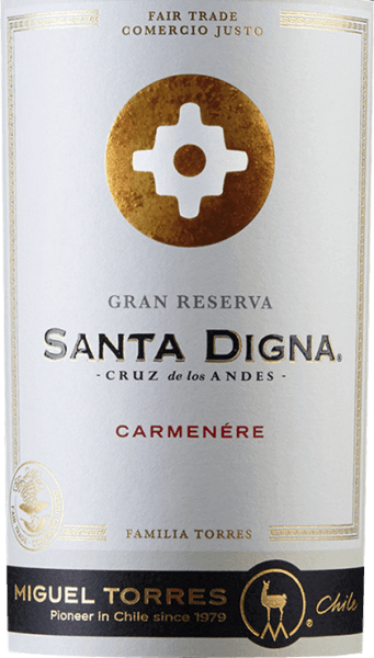 The Chilean wine-growing region Valle Central is home to the pure grape variety Santa Digna Carmenère Gran Reserva by Miguel Torres. The rich red colour of this wine is reminiscent of juicy cherries. The expressive bouquet reveals intense aromas of dark berries - especially blackberry and blackcurrant. This is joined by fine, balsamic notes, subtle hints of eucalyptus and a hint of mandarin. The palate is dominated by the elegant dark fruit. The sweet tannins are accompanied by spicy notes of black pepper and liquorice. Thanks to the wood aging this Chilean red wine still has delicate toast nuances. The body is wonderfully dense with a velvety texture that accompanies the long finish. In Chile, the crossroads that marked the transition from urban to rural were called Santa Digna. They acted as a kind of boundary stone, symbolizing growth and prosperity, promising protection to all who moved from one area to another. Vinification of Santa Digna Carmenère Gran Reserva The Carmenère grapes are harvested from mid-April in the vineyards of Valle Central. After the temperature-controlled fermentation (approx. 28 degrees Celsius) of 7 days, the mash remains on the skins for another month. The wood for this wine is aged in Nevers oak barrels for a total of 12 months. This wine then rests on the bottle for another 3 months. Food recommendation for the Miguel Torres Gran Reserva Carmenère Santa Digna Enjoy this dry red wine from Chile with spicy meat dishes - especially game and grilled red meat - or with smoked sausage specialities.