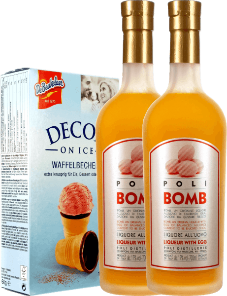 2-pack - Jacopo Poli Kreme 17 Bomb Liqueur with Egg and waffle cups
