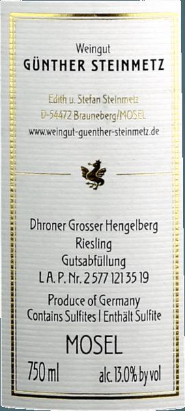 Dhroner Großer Hengelberg Riesling Monopollage 2018 - Günther Steinmetz von Weingut Günther Steinmetz