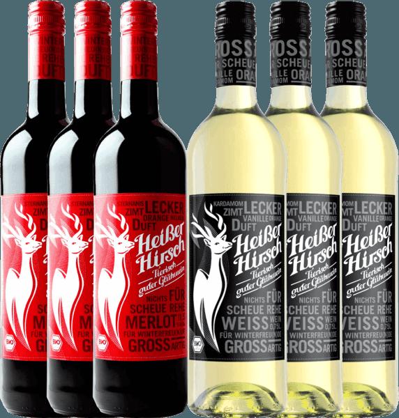 6er Mixpaket - Bio-Glühwein rot & weiß - Heißer Hirsch