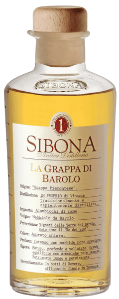 The Grappa di Barolo by Antica Distilleria Sibona is a genuine Grappa from Piedmont. In the glass, it presents itself in a light golden colour, on the nose it has an intense fragrance, with spicy, soft notes, on the palate it appears velvety, warm, deep and ripe, with an excellently integrated harmonious wood note. Long and pleasant aftertaste. Production of the Grappa di Barolo by Antica Distilleria Sibona The Grappa di Barolo is made from the Nebbiolo grape marc, which comes from the vinification of Barolo wine in the traditional DOCG area around Barolo. The resulting grappa is first matured in barrels of Austrian oak and then refined in barriques. Awards International Wine and Spirit Competition - Bronze and SIlverConcours Mondial de Bruxelles - Silver