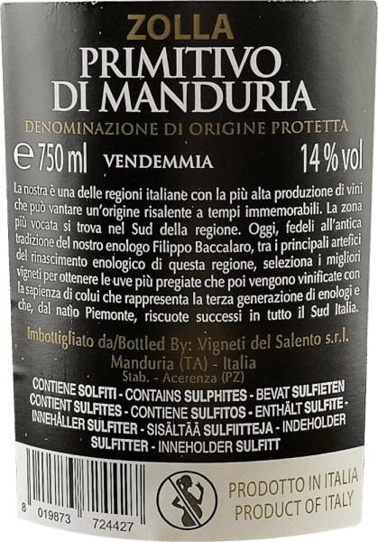 The Zolla Primitivo di Manduria from Vigneti del Salento is a milestone for the mother winery Farnese Vini in Abruzzo. With this red wine from Apulia, the Farnese oenologists have proven that even at a lower price, grandiose red wines with a lot of power and full body are possible. In the glass this wine comes with fantastically dense purple red and ruby red reflexes. The wonderfully complex and spicy nose enchants with cherries, ripe blackberries and juicy plums. Spicy notes of cinnamon, juniper, some vanilla and a subtle smoky undertone complement. On the palate this Italian red wine starts with a lot of fruit, incredibly soft tannins and a fine fruit sweetness. Spicy, fruity and juicy fresh nuances go hand in hand. The round tannins structure this Primitivo really first-class and introduce a long and multi-faceted finish. Vinification of Zolla Primitivo di Manduria Chief oenologist Filippo Baccalaro has chosen a vinification for his Zolla that is otherwise only reserved for the flagships. This begins with the selective selection of the grapes, which are harvested at perfect ripeness and then fermented on the mash. The Primitivo then matures in French and American oak barriques for about 8 months before this red wine is finally bottled. Food recommendation for the Vigneti del Salento Zolla Primitivo di Manduria Magnum Enjoy this wonderful red wine from southern Italy with steaks and sausages, with hearty pasta dishes or just for fun, also with a rich chocolate. Awards for the Magnum Primitivo Zolla AWC Vienna: Gold for 2016 Japan Wine Challenge: Silver for 2016 Berlin Wine Trophy: Gold for 2015 IWSC: Silver for 2015 AWC Vienna: 90.6 points and gold medal for 2013 Mundus Vini: Great Gold & Italy's Best Red Wine for 2013 Berlin Wine Trophy: Gold for 2013