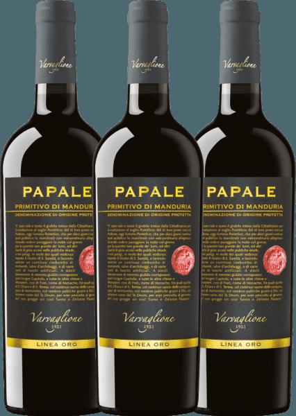3er Vorteils-Weinpaket - Papale Linea Oro Primitivo di Manduria 2016 - Varvaglione von Varvaglione