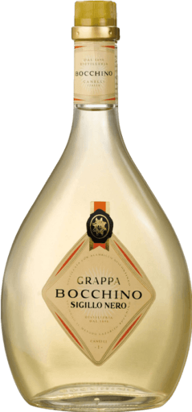 This traditional grappa from the historic Distilleria Bocchino in Canelli, Piedmont, is made from selected grapes of the Barbera d`Asti, Dolcetto del Monferrato and Nebbiolo grapes from the region. The Grappa Sigillo Nero gets its typical light amber colour, its fine aroma and its pure, dry and fragrant taste by ageing it in large wooden barrels.