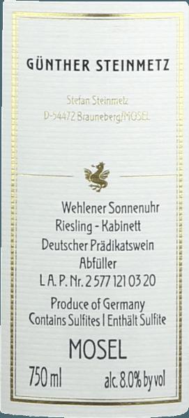 Wehlener Sonnenuhr Riesling Kabinett 2019 - Günther Steinmetz von Weingut Günther Steinmetz