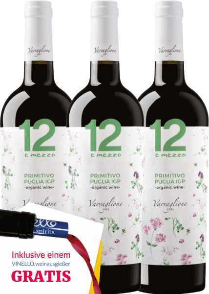 The 12 e Mezzo Primitivo Organic from Varvaglione from the Italian wine-growing region Apulia is a biologically produced, fruity and exceptional red wine. The expressive aromatic fullness harmonises wonderfully with the fresh, fruity and uncomplicated character. Enjoy now this Italian red wine in our special 3-pack. Learn more about this organically produced red wine in the articleVarvaglione 12 e Mezzo Primitivo Organic.