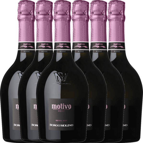 Motivo Rosé extra dry from Borgo Molino is a wonderful top Italian sparkling wine that brings the Glera, Rabosco and Pinot Nero grape varieties into perfect and unforgettable harmony. The character convinces with its fresh, juicy and lively character. You can now purchase this Italian sparkling wine in our special 6-pack. You can find out more about this sparkling wine in the article of Borgo Molino Motivo Rosé.
