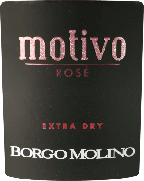 """Der Motivo Rosé extra dry von Borgo Molino ist ein hervorragender Aperitif aus Glera, Raboso und Pinot Nero. Dieser Spitzen-Spumante aus Venetien begeistert mit viel lebendiger Frucht und einem herrlich fruchtigen Geschmack am Gaumen! Der Motivo Rosé von Borgo Molino präsentiert sich leuchtend rosa im Glas. Eine feine, lang anhaltende Perlage, gepaart mit einem fruchtigen und intensiven Bouquet, das an Himbeeren, Erdbeeren und Rosen erinnert, zeichnet diese Cuvée aus. Frisch, saftig und lebendig im Geschmack macht der Motivo Rosé geschmacklich alles richtig. Ein Schaumwein aus Norditalien, der sofort zu begeistern weiß und der bereits mit seiner außergewöhnlichen Flaschenform sagt """"Hier kommt etwas besonderes!"""" Vinifikation des Borgo Molino Motivo Rosé Der Motivo Rosé wird bei Borgo Molino aus den Rebsorten Glera, Raboso und Pinot Nero (also Spätburgunder) vinifiziert. Die Trauben wachsen dabei in der Region Marca Trevigiana und werden zum Zeitpunkt optimaler Reife gelesen. Speiseempfehlung für den Borgo Molino Motivo Rosé Genießen Sie diesen außergewöhnlichen Schaumwein aus Venetien als Aperitif oder zu aromatischen Gerichten mit Meeresfrüchten. Auszeichnungen für den Motivo Rosé IWSC 2017: Silber Luca Maroni 2017: 90 Punkte Mundus Vini 2013: Silber"""