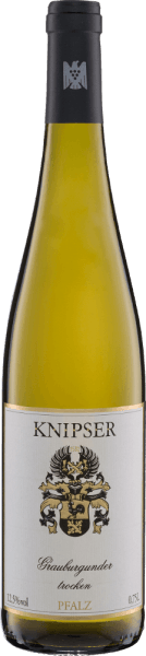 The dry Grauburgunder from Knipser has a wonderful personality with tropical tones. Even in its colour, this Palatine Jack is a real muscleman. This wine sparkles straw-yellow with slightly shimmering rosé reflections from the glass. If you first notice the scent of ripe fruits such as pineapple, mango, apricot or papaya, it has already happened to you and you just have to enjoy this German white wine. The powerful body dresses the whole palate with a juicy but never sharp structure and makes you want the next sip. In the finish long lasting and wonderfully flattering. Food recommendation for the Knipser Grauburgunder This dry white wine from Germany goes well with a variety of dishes or simply solo on the terrace. Salads, tapas or pasta, preferably with shrimps and a little Parmigiano, go very well with the dry Pinot Gris from Knipser.