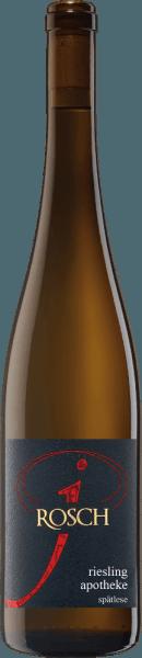 Der Apotheke Riesling Spätlese von Josef Rosch umschmeichelt die Nase mit den köstlichen Aromen von weißem Pfirsich und einem Hauch von weißem Schokoladenmousse. Im Hintergrund sind Anklänge von Pistazie und Kräutern zu erkennen. Feinsaftig präsentiert sich dieser süße Weißwein am Gaumen mit den Geschmacksnoten von Lindenblüten, getrockneten Aprikosen und Pfirsich. Dieser animierende Wein geht mit einem festen Körper und filigranen Struktur in ein langes Finale, welches mit süßer Aprikose verführt. Speiseempfehlung für den Apotheke Riesling Spätlese Genießen Sie diesen süßen Wein zu Desserts, Eis und Kuchen. Auszeichnungen des Apotheke Riesling Spätlese Eichelmann: 89 Punkte für 2016