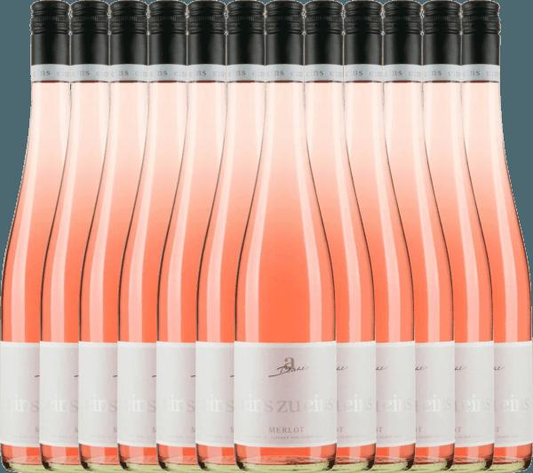 12er Vorteils-Weinpaket - Merlot Rosé eins zu eins feinherb 2019 - A. Diehl