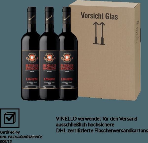 Der Brunello di Montalcino DOCG von Tenuta il Poggione ist ein ausgezeichneter, komplexer und verführerischer toskanischer Rotwein. Die Nase erfreut sich an einem konzentrierten, fruchtig-würzigen Bouquet - der Gaumen an einer samtig-weichen Tanninstruktur mit ausgeglichener Säure und komplexen Körper. Genießen auch Sie jetzt diesen italienischen Rotwein in unserem 3er Vorteilspaket. Mehr über diesen hochprämierten, trockenen Rotwein erfahren Sie in der Expertise desTenuta il PoggioneBrunello di Montalcino.