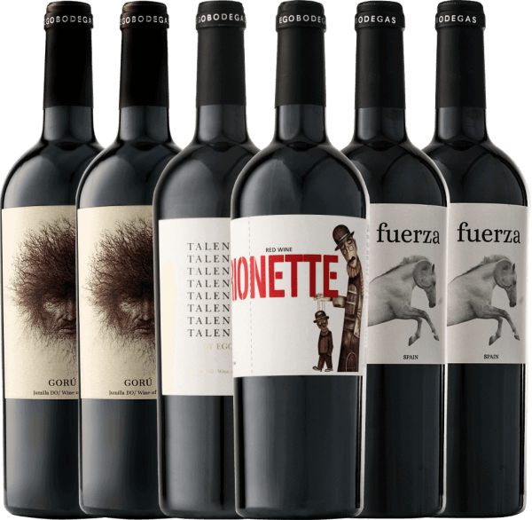 Mit diesem 6er Kennlernpaket tauchen Sie in die zauberhafte Welt von Ego Bodegas ein. Nicht nur optisch überzeugen die wunderbaren Rotweine sondern auch ganz besonders die fantastische Aromenvielfalt in Nase und am Gaumen. Lassen auch Sie sich mit auf die Reise zum spanischen Spitzen-Weingut in Jumilla entführen. Das 6er Kennenlernpaket mit Rotweinen von Ego Bodegas beinhaltet: 2 Flaschen Gorú Jumilla DO 2 Flaschen Fuerza Jumilla DO 1 Flasche Talento Jumilla DO 1 Flasche Marionette Jumilla DO