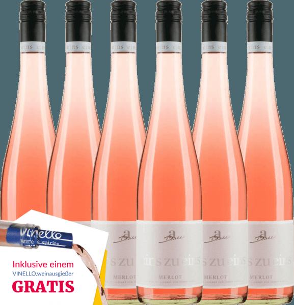 6er Vorteils-Weinpaket - Merlot Rosé eins zu eins feinherb 2019 - A. Diehl von Weingut A. Diehl