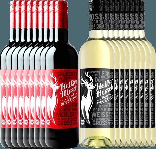 18er Mixpaket - Bio-Glühwein rot & weiß - Heißer Hirsch