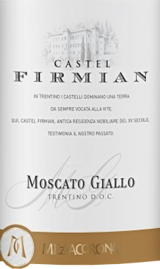 The Moscato Giallo from Castel Firmian from the Italian wine-growing region DOC Trentino is a wonderfully sweet, intense and grape-variety pure white wine. In the glass this white wine shines in a rich straw yellow with green-golden highlights. An aromatic scent of ripe fruit, orange blossoms and honey, complemented by fine traces of sweet pastry enchants the nose. This Italian white wine meets the palate with expressiveness and strength, where a refreshing sweetness and strong notes of melons and ripe peaches unfold. Vinification of the Firmian Moscato Giallo This speciality with the delicate sweetness comes from Trentino and is vinified from grapes from our own vineyards north of Lake Garda, some of which are dried on the vines. This wine is vinified in the traditional way - first cold maceration on the skins and then fermentation in stainless steel tanks at a controlled temperature. The natural sugar level reaches its perfection through the interruption of cooling during fermentation. Recommended food for Moscato Giallo Castel Firmian Trentino Enjoy this sweet white wine from Italy with juicy apple strudel with vanilla ice cream, dried fruit or with fine pastries.