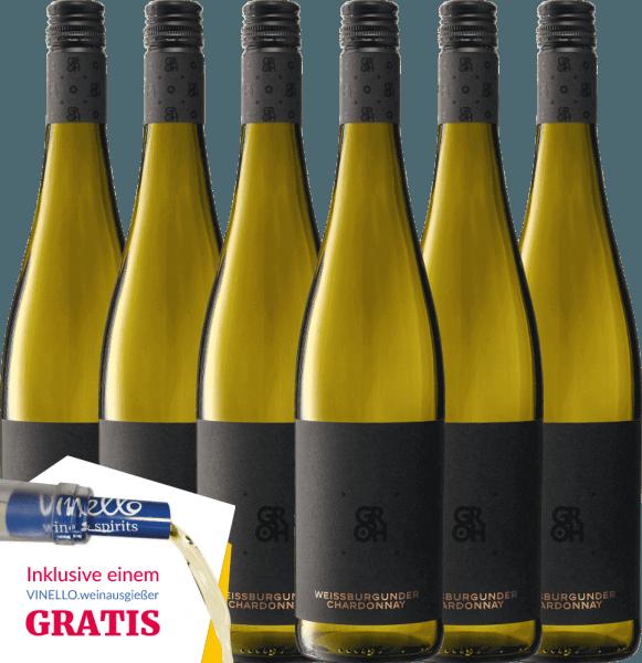 6er Vorteils-Weinpaket - Grohsartig Weißburgunder Chardonnay 2019 - Groh von Weingut Groh