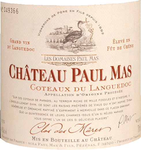 The Clos de Mûres Château Paul Mas from the Languedoc wine region is aged in casks and is presented in a glass of dense purple red. To the nose, this Domaine Paul Mas red wine presents all kinds of blueberries, plums, mulberries, black cherries and morello cherries. As if this was not already impressive, the ageing in large wooden barrels adds further aromas such as black tea, gingerbread spice and cinnamon. The Clos de Mûres Château Paul Mas Coteaux du Languedoc from Domaine Paul Mas is ideal for all wine lovers who like as little residual sugar in their wine as possible. However, it never appears meagre or brittle. This dense and velvety red wine is powerful and complex on the palate. The fruit acidity of the Clos de Mûres Château Paul Mas Coteaux du Languedoc is wonderfully mild and makes this wine wonderfully smooth. In the finish, this storable red wine from the wine-growing region of the Languedoc finally inspires with considerable length. There are again hints of black currant and plum. In the aftertaste, mineral notes of the soils dominated by clay and gravel are added. Vinification of the Domaine Paul Mas Clos de Mûres Château Paul Mas Coteaux du Languedoc The basis for the powerful Clos de Mûres Château Paul Mas from the Languedoc are grapes from the grape varieties Garnacha, Mourvèdre and Syrah. The grapes grow under optimal conditions in the Languedoc. The vines here dig their roots deep into soils of clay, slate and gravel. After the harvest, the grapes are quickly taken to the press house. Here they are sorted and carefully ground. Fermentation then takes place in stainless steel tanks at controlled temperatures. The vinification is followed by a 9-month aging in French and American oak barrels. Food recommendation for the Domaine Paul Mas Clos de Mûres Château Paul Mas Coteaux du Languedoc This French red wine is best enjoyed at a temperature of 15 - 18°C. It goes perfectly with stuffed peppers, braised chicken in red wine or ossobuco.