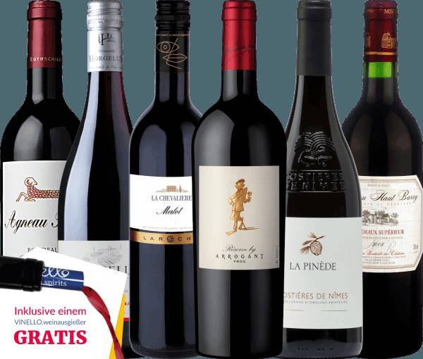 Wir nehmen Sie mit auf eine Reise nach Frankreich und zeigen Ihnen unkomplizierte, harmonische und fruchtige Weine! Egal ob Weine aus Bordeaux, Languedoc, Gascogne oder auch südliches Rhône-Tal - wir haben einiges im Gepäck! Und damit auch jeder Tropfen im Glas landet, ist auch ein VINELLO.weinausgießer mit dabei. Das 6er Kennenlernpaket - wundervolle Rotweine aus Frankreich beinhaltet: Agneau Rouge Bordeaux von Baron Philippe de RothschildEin ausgewogener Rotwein aus Cabernet Franc, Cabernet Sauvignon und Merlot (12,5 Vol%) Horgelus Rouge Merlot Tannat von Domaine HorgelusEine wunderbare Cuvée aus Merlot und Tannat (12,5 Vol%) Merlot de La Chevalière von LarocheEin rebsortenreiner Rotwein aus Merlot (13,0 Vol%) Réserve von Arrogant FrogEine fruchtbetonte Rotwein-Cuvée aus Garnacha, Mourvedre und Syrah (14,0 Vol%) La Pinède Costières de Nîmes von Picard Vins & SpiritueuxEin eleganter Wein aus Grenache, Mourvedre und Syrah (12,8 Vol%) Bordeaux Supérior von Château Haut-BarryEine aromatischer Rotwein aus Cabernet Franc, Cabernet Sauvignon und Merlot (12,5 Vol%) Ein kostenloser VINELLO.weinausgießer