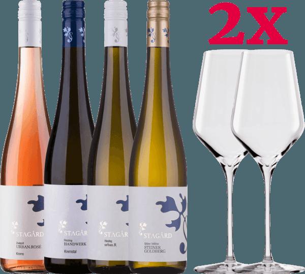Kennenlernpaket - 4 Weine vom Lesehof Stagard + 2x Stölzle Quatrophil Weißwein-Gläser