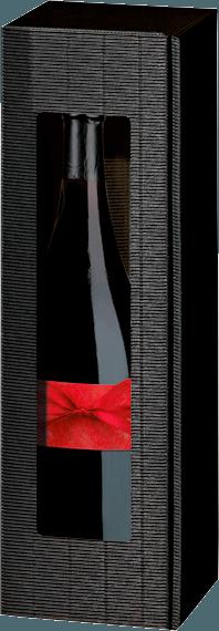 1er Präsentkarton Magnum offene Welle schwarz mit Folienfenster von VINELLO