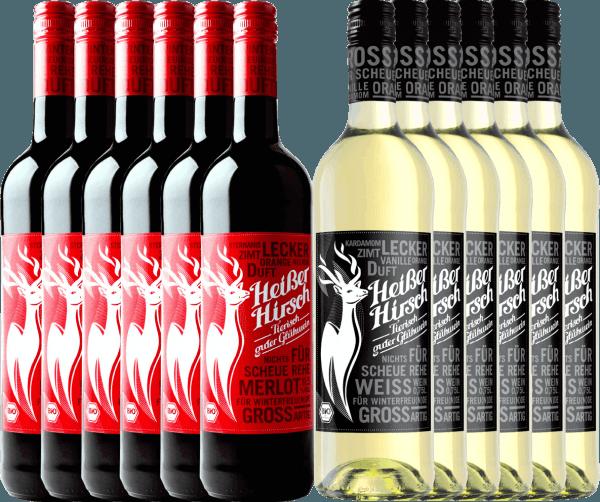 Jetzt wird es heiß in der Vorweihnachtszeit mit unserem 12er Mixpaket des Bio-Glühweins von Heißer Hirsch. Mit dabei ist der rote sowie weiße Glühwein. Genießen Sie mit Familie und Freunden den veganen Glühwein und starten Sie gemütlich in die Adventszeit. Das Heißer Hirsch Mixpaket beinhaltet: 6 Flaschen:Heißer Hirsch roter Glühwein 6 Flaschen: Heißer Hirsch weißer Glühwein