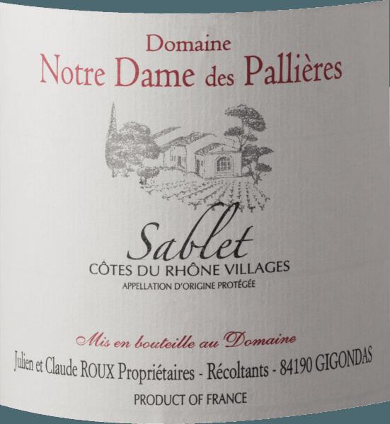 Sablet AOP Côtes du Rhône Villages 2018 - Domaine Notre Dame des Pallieres von Domaine Notre Dame des Pallieres