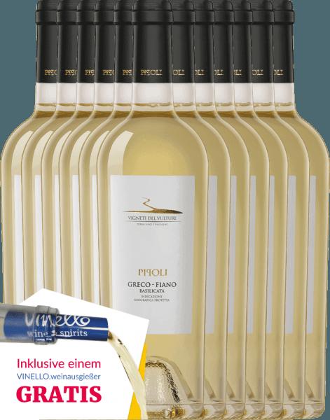 Der Pipoli Greco Fiano von Vigneti del Vulture aus dem italienischen Weinanbaugebiet Basilikata überzeugt mit seinem wundervollen Bouquet nach frischen Aprikosen und tropischen Früchten - ergänzt um florale Noten nach weißen Blüten. Am Gaumen herrlich frisch und ausgewogen. Genießen auch Sie jetzt diese italienische Weißwein-Cuvée in unserem 12er Vorteilspaket. Mehr über diesen Weißwein aus Italien können Sie in der Expertise des Vigneti del Vulture Pipoli Greco Fiano nachlesen.