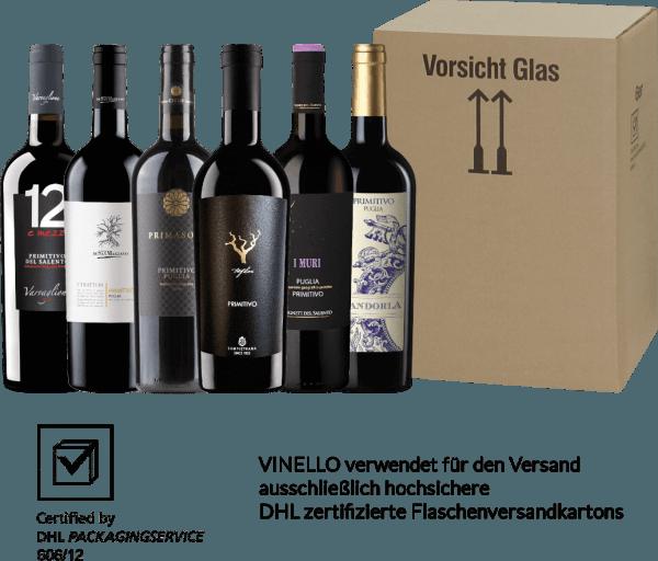 Oooohh Bella Italia - was schenkst du uns für wundervollen Rotwein aus deinem Süden? Apulien und Primitivo gehören einfach zusammen. Das sonnenverwöhnte Apulien - der Absatz des italienischen Stiefels - schenkt den Primitivo-Trauben wundervolle Aromen nach dunklen Waldfrüchten und würzige Nuancen, die an Zimt, Nelke und Pfeffer erinnern. Was viele nicht wissen: Primitivo stammt ursprünglich aus Kroatien und in Nordamerika wird diese Rotweinsorte unter den Namen Zinfandel angebaut. Genug über die Rebsorte geplaudert - entdecken auch Sie jetzt die Welt des apulischen Primitivos mit unserem Kennlernpaket! Das6er Probierpaket - Primitivo aus Apulien beinhaltet: 1 FlascheI Muri Primitivo Puglia IGP von Vigneti del Salento(13,5 Vol% - trocken) 1 FlascheTrefilari Primitivo Salento IGT von Cantina Sampietrana(14,5 Vol% trocken) 1 FlaschePrimitivo Salento von Casato di Melzi (13,5 Vol% - trocken) 1 FlaschePrimasole Primitivo Puglia IGT von Cielo e Terra(13,0 Vol% - trocken) 1 FlascheI Tratturi Primitivo Puglia IGT von Cantine San Marzano(13,5 Vol% - trocken) 1 Flasche12 e Mezzo Primitivo del Salento IGT von Varvaglione(12,5 Vol% - trocken)
