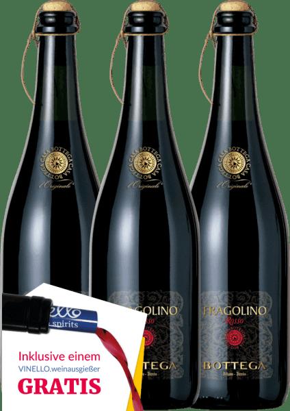 Der Fragolino Rosso Frizzante von Bottega aus Venetien überzeugt mit einer angenehmen Süße, einem frischen, erdbeerigen Geschmack und einem zarten Prickeln. Sie erhalten unseren verführerischen Bestseller aus Italien nun auch im praktischen 3er Vorteilspaket. Eine ausführliche Beschreibung des Weins finden Sie im Einzelartikel desFragolino Rosso Frizzante.