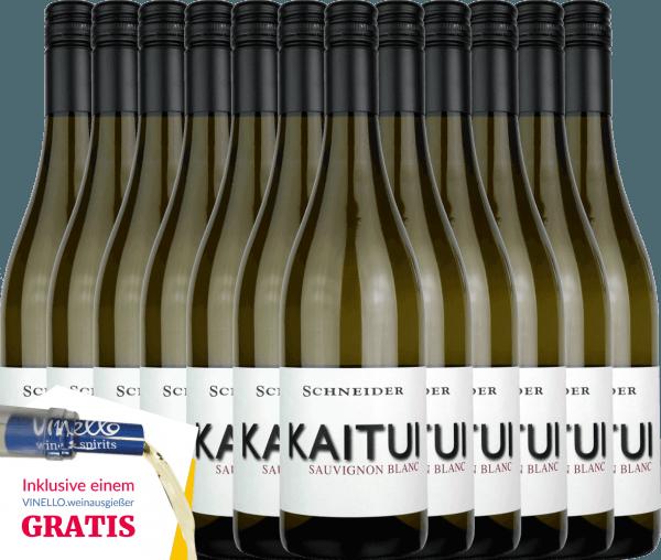 DerKaitui Sauvignon Blanc von Markus Schneider aus dem deutschen Weinanbaugebiet Pfalz ist ein rebsortenreiner, ausdrucksvoller und unvergesslicher Weißwein. Sortentypische Aromen nehmen sofort die Nase und den Gaumen ein. Dabei entfaltet sich ein feiner Schmelz, der von mineralischen Nuancen perfekt untermalt wird. Genießen auch Sie jetzt die deutsche Antwort auf den neuseeländischen Sauvignon Blanc in unserem 12er Vorteilspaket. Mehr über diesen trockenen Weißwein aus Deutschland können Sie in der Expertise des Markus Schneider Kaitui nachlesen.