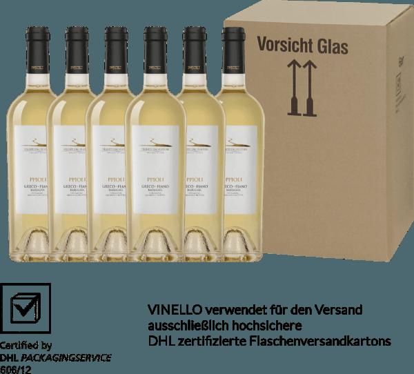 Der Pipoli Greco Fiano von Vigneti del Vulture aus dem italienischen Weinanbaugebiet Basilikata überzeugt mit seinem wundervollen Bouquet nach frischen Aprikosen und tropischen Früchten - ergänzt um florale Noten nach weißen Blüten. Am Gaumen herrlich frisch und ausgewogen. Genießen auch Sie jetzt diese italienische Weißwein-Cuvée in unserem 6er Vorteilspaket. Mehr über diesen Weißwein aus Italien können Sie in der Expertise des Vigneti del Vulture Pipoli Greco Fiano nachlesen.