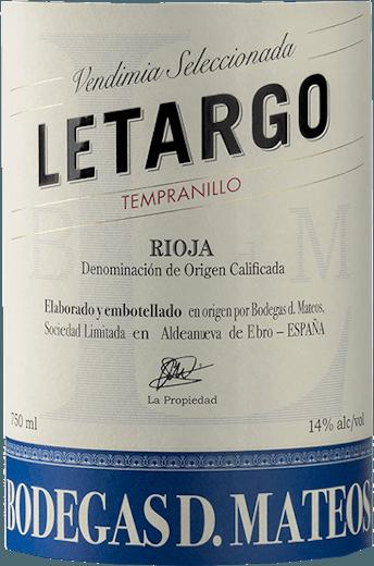 Letargo Tempranillo 2018 - Bodegas D. Mateos von Bodegas D. Mateos