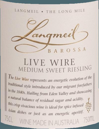 Live Wire Medium Sweet Riesling 2019 - Langmeil von Langmeil