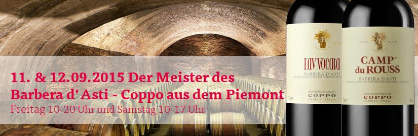 VINELLO.tasting am 11. und 12.09.2015: Barbera d'Asti von Coppo aus dem Piemont in unserem VINELLO.winestore.