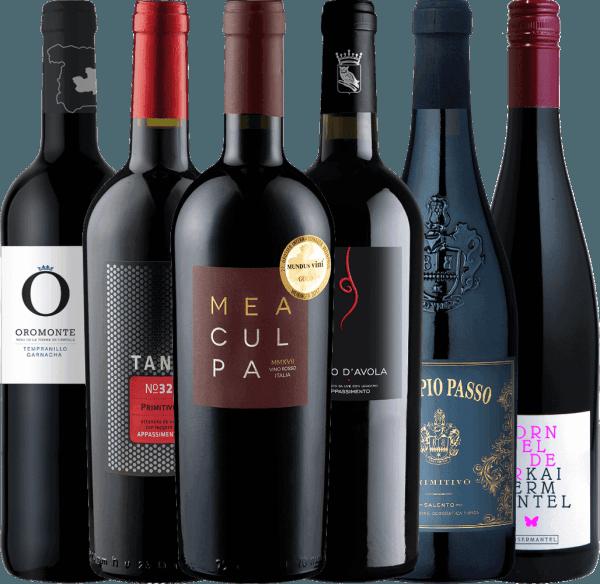 Mit diesen sechs wundervollen halbtrockenen Rotweinen wird Ihnen bestimmt nicht nur die Adventszeit versüßt. Für die winterlichen Tage im Jahr haben wir für Sie dieses 6er Winterpaket zusammengestellt. Das6er Winterpaket mit halbtrockenen Weinen für die kalte Jahreszeit beinhaltet: 1 FlascheDoppio Passo Primitivo Salento von Casa Vinicola Carlo Botter 1 Flasche Tardus Appassimento Nero d'Avola IGT vonCantine Minini 1 Flasche MEA CULPA Vino Rosso Italia von Cantine Minini 1 Flasche Oromonte Tempranillo Garnacha Halbtrocken von Navarro Lopez 1 Flasche TANK No 32 Appassimento Primitivo IGT von Cantine Minini 1 Flasche Dornfelder Kaisermantel Qualitätswein halbtrocken von Dr. Koehler