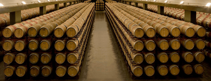 Rioja wines mature in countless wooden barrels at Bodegas Montecillo
