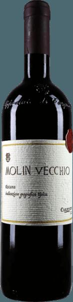 Der Molin Vecchio Rosso Toscano IGT von Carpineto erscheint in einem sehr intensiven Rot im Glas und präsentiert dabei sein weiniges Bouquet mit den Aromen von Pflaumen, Brombeeren, sowie feine Nuancen von Vanille und Lakritz. Diese Cuvée aus Italien ist am Gaumen mit einer komplexen und eleganten Struktur vertreten. Vinifikation für den Molin Vecchio Rosso Toscano IGT von Carpineto Die Reben für diesen Rotwein aus Sangiovese, Cabernet Sauvignon und Syrah wachsen auf einem Südhang und Böden mit Tonerde und sandigen Schichten. Die Fermentation für diesen italienischen Rotwein findet mit autochthonen Hefen in kleinen Fermentern aus Glasbeton statt mit einer 15-tägigen Mazeration bei einer kontrollierten Temperatur von 25-30°Celsius. Anschließend wurde diese Cuvée für etwa 12 Monate in kleine 225-Liter-Fässer aus amerikanischer und fränzösischer Eiche zum Reifen gebracht und danach ohne weitere Behandlung in Flaschen abgefüllt. Speiseempfehlung für den Molin Vecchio Rosso Toscano IGT von Carpineto Genießen Sie diesen trockenen Rotwein zu feinen Braten. Prämierungen für den Molin Vecchio von Carpineto Wine Enthusiast: 91 Punkte für 2009 I Vini di Veronelli: 92 Punkte für 2007 Wine Spectator: 95 Punkte für 2004