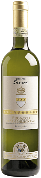 Dieser schlanke Wein aus dem Hause Strozzi ist ein reinsortige Vernaccia. Der Vernaccia di San Gimignano DOCG Titolato Strozzi von Strozzi ist geschmacklich sehr trocken, leicht und zart, dabei reintönig und klar. Ein unkomplizierter Wein für jede Gelegenheit, der wunderbar zu Fisch und Geflügel passt.