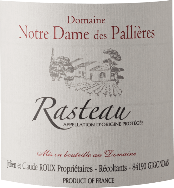 The powerful Rasteau from the pen of Domaine Notre Dame des Pallieres comes in a dense crimson red colour in the glass. Held at a slight angle, the red wine glass reveals a charming shade of violet at the edges. The first nose of the Rasteau reveals notes of blackberries, blueberries and blackcurrants. The fruity parts of the bouquet are joined by notes of barrel ageing and even more fruity-balsamic nuances. This red from Domaine Notre Dame des Pallieres is ideal for all wine lovers who like it dry. However, it is never sparse or brittle. Powerful and multi-faceted, this silky red wine presents itself on the palate. Due to its moderate fruit acidity, the Rasteau flatters with a pleasing palate feeling, without losing its juicy liveliness. In the finish, this red wine from the wine-growing region of Provence finally inspires with considerable length. There are again hints of blackberry and black currant. In the aftertaste, mineral notes of the marl dominated soils are added. Vinification of the Domaine Notre Dame des Pallieres Rasteau The powerful Rasteau from France is a cuvée, vinified from the grape varieties Cinsault, Garnacha, Mourvèdre and Syrah. The grapes grow under optimal conditions in Provence. The vines here dig their roots deep into marl soils. This Frenchman can literally be called a wine of the old world, which presents itself in an exceptionally impressive way. After the grape harvest, the grapes are immediately transported to the winery. Here they are selected and carefully ground. Fermentation then takes place in concrete and small wood at controlled temperatures. The vinification is followed by a maturation for several months in French oak barrels. Recommended food for the Rasteau of Domaine Notre Dame des Pallieres Drink this red wine from France at 15 - 18°C as an accompaniment to braised chicken in red wine, vegetable couscous with beef meatballs or boeuf bourguignon. Awards for the Rasteau of Domaine Notre Dame des Pallieres This wine from Rasteau does not only convince us, no, even renowned critics have already distinguished it. Among the reviews are Wine Advocate - Robert M. Parker - 91-93 points
