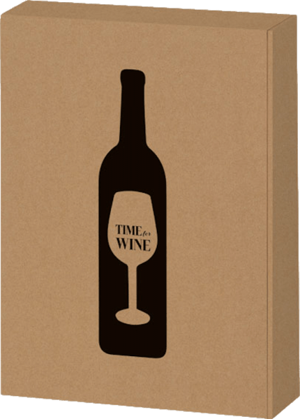 3 bottle gift box Time for Wine natural kraft paper von VINELLO